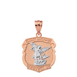 Solid Two Tone Rose Gold Saint Michael Protect Us Shield Pendant Necklace