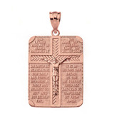 Solid Rose Gold The Lord's Our Father Prayer Crucifix Rectangular Tag Pendant Necklace