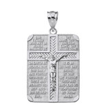 Sterling Silver The Lord's Our Father Prayer Crucifix Rectangular Tag Pendant Necklace