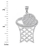 Solid White Gold Large Sparkle Cut Basketball Hoop Pendant
