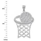 Sterling Silver Large Sparkle Cut Basketball Hoop Pendant