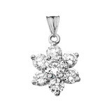 Elegant Dainty Cubic Zirconia Pendant Necklace in White Gold