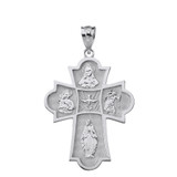 Solid White Gold Holy Spirit Four Way Cross Pendant Necklace