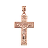Solid Rose Gold The Lord's Our Father Prayer Crucifix Pendant Necklace