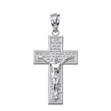 Sterling Silver The Lord's Our Father Prayer Crucifix Pendant Necklace