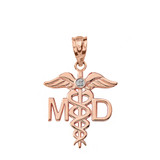 Solid Rose Gold Diamond Medical Doctor Pendant Necklace