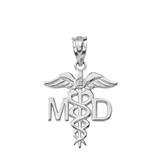 Sterling Silver CZ Medical Doctor Pendant Necklace