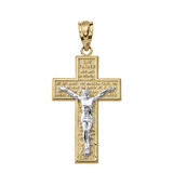 Solid Two Tone Yellow Gold The Lord's Our Father Prayer Crucifix Pendant Necklace