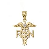 Diamond Registered Nurse Pendant Necklace in Gold (Yellow/Rose/White)