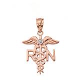 Solid Rose Gold Diamond Registered Nurse Doctor Pendant Necklace