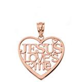 Solid Rose Gold Jesus Loves Me Heart Pendant Necklace