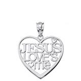 Sterling Silver Jesus Loves Me Heart Pendant Necklace