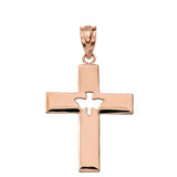 Solid Rose Gold Cross with Dove Holy Spirit Cut Out Pendant Necklace