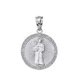 """Solid White Gold Engravable Diamond Saint Anthony Pray For Us Circle Pendant Necklace 1.06"""""""