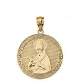 "Solid Yellow Gold Engravable Diamond Saint  Augustine Circle Pendant Necklace  1.17"""