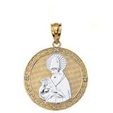 "Solid Two Tone Yellow Gold Engravable Diamond Saint  Augustine Circle Pendant Necklace  1.17"""