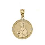 "Solid Yellow Gold Engravable Diamond Saint  Augustine Circle Pendant Necklace 1.06"""