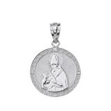 """Solid White Gold Engravable Diamond Saint  Augustine Circle Pendant Necklace 1.06"""""""