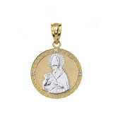 "Solid Two Tone Yellow Gold Engravable Diamond Saint  Augustine Circle Pendant Necklace 1.06"""