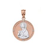 "Solid Two Tone Rose Gold Engravable Diamond Saint  Augustine Circle Pendant Necklace 1.06"""
