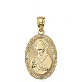 "Solid Yellow Gold Engravable Diamond Saint  Augustine Oval Pendant Necklace  1.20"""
