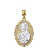 """Solid Two Tone Yellow Gold Engravable Diamond Saint  Augustine Oval Pendant Necklace  1.20"""""""
