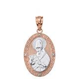 "Solid Two Tone Rose Gold Engravable Diamond Saint  Augustine Oval Pendant Necklace  1.20"""