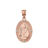 "Solid Rose Gold Engravable Diamond Saint Augustine Oval Pendant Necklace 1.04"""