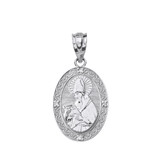 "Solid White Gold Engravable Diamond Saint Augustine Oval Pendant Necklace 1.04"""