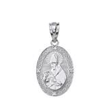 """Sterling Silver Engravable CZ Saint Augustine Oval Pendant Necklace 1.04"""""""