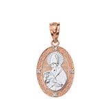 "Solid Two Tone Rose Gold Engravable Diamond Saint Augustine Oval Pendant Necklace 1.04"""