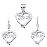 "14K ""Love"" Script Diamond Heart Pendant Necklace Set in White Gold"