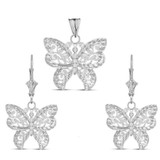 Filigree Butterfly Pendant Necklace Set in Sterling Silver