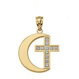 Diamond Crescent Moon and Cross Pendant Necklace in Gold (Yellow/Rose/White)