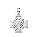 Solid White Gold Diamond Celtic Woven Cross Pendant Necklace