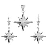 North Star Pendant Necklace Set in 14K White Gold
