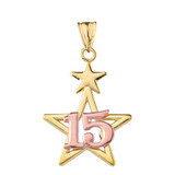 Dainty Quinceañera Star Pendant Necklace in Two Tone Yellow Gold