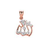 Rose Gold Diamonds Studded Allah Pendant Necklace