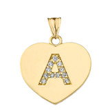 """Diamond Initial """"A"""" Heart Pendant Necklace in Yellow Gold"""