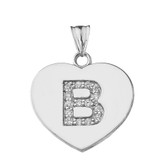 """Cubic Zirconia Initial """"B"""" Heart Pendant Necklace in Sterling Silver"""