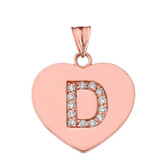 """Diamond Initial """"D"""" Heart Pendant Necklace in Rose Gold"""