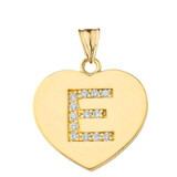"""Diamond Initial """"E"""" Heart Pendant Necklace in Yellow Gold"""
