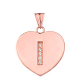 """Diamond Initial """"I"""" Heart Pendant Necklace in Rose Gold"""