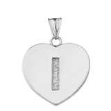 """Diamond Initial """"I"""" Heart Pendant Necklace in White Gold"""