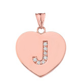 """Diamond Initial """"J"""" Heart Pendant Necklace in Rose Gold"""