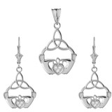 Cubic Zirconia Claddagh Trinity Knot Pendant Necklace Set in Sterling Silver