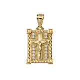 Diamond Boxed Cross Pendant Necklace in Yellow Gold