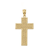 The Lord's Our Father Prayer Cross Pendant Necklace in Gold (Yellow/Rose/White)