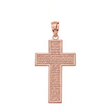 Solid Rose Gold The Lord's Our Father Prayer Cross Pendant Necklace