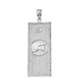 Solid White Gold Double Sided Million Dollar Bill Money Pendant Necklace(Large)